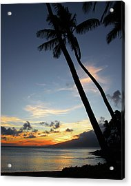 Maui Sunset With Palm Trees Acrylic Print