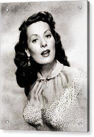 Maureen O'hara, Vintage Actress By John Springfield Acrylic Print