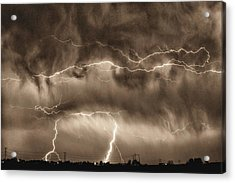 May Showers - Lightning Thunderstorm Sepia Hdr Acrylic Print