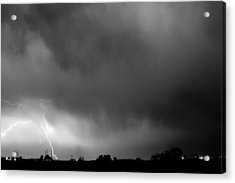May Showers 3 In Bw - Lightning Thunderstorm 5-10-2011 Boulder C Acrylic Print by James BO  Insogna