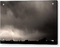 May Showers 3 In Sepia - Lightning Thunderstorm 5-10-2011 Boulde Acrylic Print by James BO  Insogna