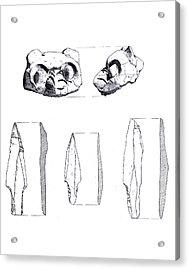 Maya Cat Head And Stone Tools Acrylic Print