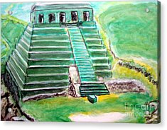 Mayan Temple Acrylic Print by Stanley Morganstein