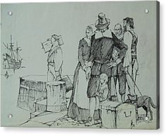 Acrylic Print featuring the drawing Mayflower Departure. by Mike Jeffries