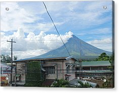 Mayon In-front Of My House Acrylic Print by Manuel Cadag