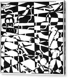 Maze Memoirs Of The Invisible Monkeys Acrylic Print by Yonatan Frimer Maze Artist