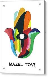 Mazel Tov Hamsa- Art By Linda Woods Acrylic Print