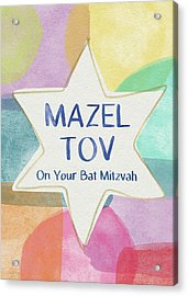 Mazel Tov On Your Bat Mitzvah- Art By Linda Woods Acrylic Print by Linda Woods