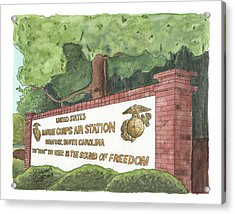 Acrylic Print featuring the painting Mcas Beaufort Welcome by Betsy Hackett
