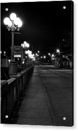 Mccaysville Bridge At Night In Black And White Acrylic Print by Greg Mimbs