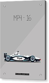 Mclaren Mercedes Mp4-16 F1 Poster Acrylic Print by Beautify My Walls