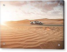 Mclaren P1 In Dubai Desert Acrylic Print
