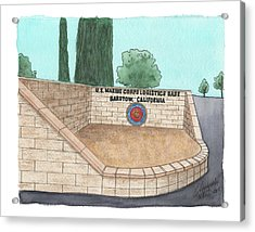 Acrylic Print featuring the painting Mclb Barstow Welcome by Betsy Hackett