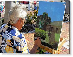 Me At Work Painting The Building With My Studio In It Acrylic Print by Charles Peck