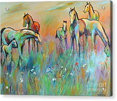 Acrylic Print featuring the painting Meadow by Cher Devereaux