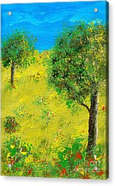 Meadow With Trees Acrylic Print by Sascha Meyer
