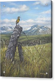 Acrylic Print featuring the painting Meadowlark Serenade by Kim Lockman