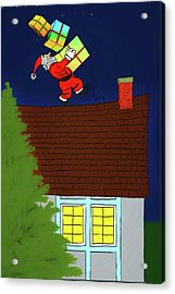 Acrylic Print featuring the digital art Meanwhile Up On The Housetop by John Haldane