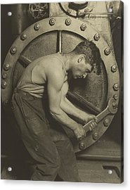 Mechanic And Steam Pump Acrylic Print by Lewis Wickes Hine