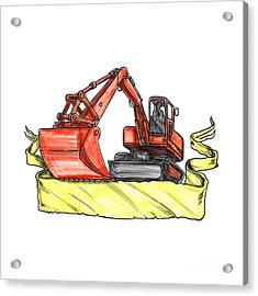 Mechanical Digger Excavator Ribbon Tattoo Acrylic Print