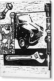 Mechanical Linoprint Acrylic Print by Tom  Layland
