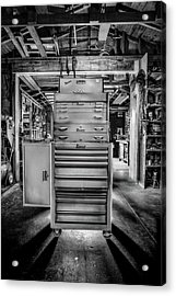 Mechanics Toolbox Cabinet Stack In Garage Shop In Bw Acrylic Print