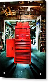 Mechanics Toolbox Cabinet Stack In Garage Shop Acrylic Print