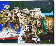 Med Evac Battle For Fallujah Iraq Acrylic Print by Howard Stroman