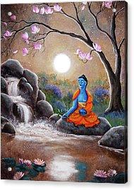 Medicine Buddha By A Waterfall Acrylic Print