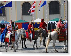 Medieval Knights Parade Acrylic Print by Adrian Bud
