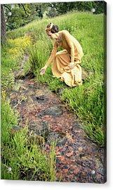 Medieval Lady By A Stream Acrylic Print