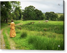 Medieval Lady With Sheep Acrylic Print