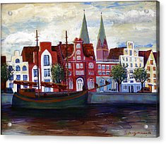 Medieval Town In Lubeck Germany Acrylic Print by Art Nomad Sandra  Hansen