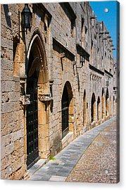 Medievil Town In Rhodes Acrylic Print by Sandra Bronstein