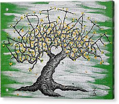 Acrylic Print featuring the drawing Meditate Love Tree by Aaron Bombalicki