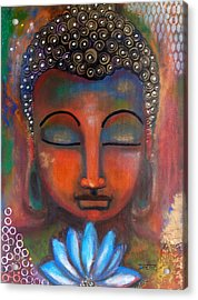 Acrylic Print featuring the painting Meditating Buddha With A Blue Lotus by Prerna Poojara