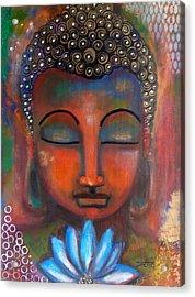 Meditating Buddha With A Blue Lotus Acrylic Print