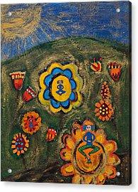 Meditating Master In Divine Garden Acrylic Print by Maggis Art