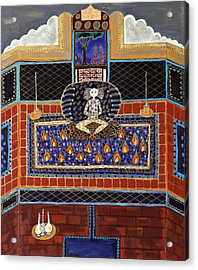 Meditating Master In Tiled Courtyard Acrylic Print by Maggis Art