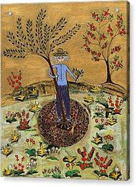 Meditating Master Planting Tree Acrylic Print by Maggis Art