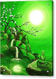Meditating While Cherry Blossoms Fall In Green Acrylic Print by Laura Iverson