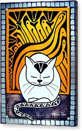 Meditation - Cat Art By Dora Hathazi Mendes Acrylic Print