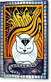 Meditation - Cat Art By Dora Hathazi Mendes Acrylic Print