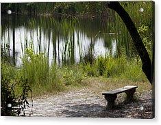 Meditation Spot By A Pond Acrylic Print by Tina B Hamilton
