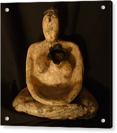 Meditative Woman Open Heart Acrylic Print