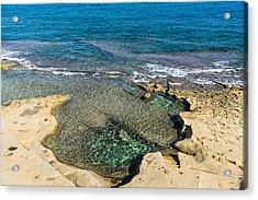 Mediterranean Delight - Maltese Natural Beach Pool With A Sleeping Giant Acrylic Print by Georgia Mizuleva
