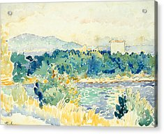 Mediterranean Landscape With A White House Acrylic Print by Henri-Edmond Cross