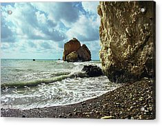 Mediterranean Sea, Pebbles, Large Stones, Sea Foam - The Legendary Birthplace Of Aphrodite Acrylic Print