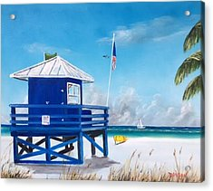 Meet At Blue Lifeguard Acrylic Print by Lloyd Dobson