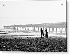 Acrylic Print featuring the photograph Meet At The Pier by Phyllis Peterson